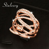 Big Hollow Multilayer Twisted Crystal Women Ring Rose White Gold Fashion Jewelry