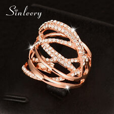 Multilayer Twisted Mirco Paved Crystal Stones Women Hollow Rings Fashion Jewelry