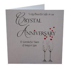 15th Crystal Anniversary Card Wife Crystals & Envelope Luxury Handmade