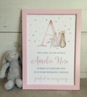 Personalised Peter Rabbit Initial Christening/New Baby Framed Print, Pink,  Blue