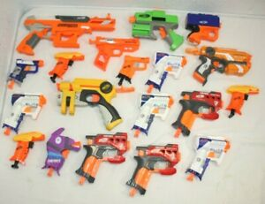 Mixed Assorted Lot of 19 Single Shot Nerf Guns Dart Blasters TESTED Party Pack