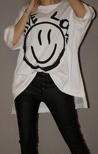Oversize Shirt Kurzarm Smile Love M 38 - 44 46 XXL Weiß Must Have