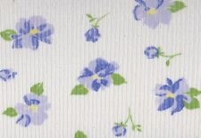 White / Blue Floral Knitted Ribbed Polyester Fabric (127cm wide)