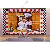 """Chef Black White Tile Foil Backsplash Mural Wall Art Decal 29.5"""" Peel Stick"""