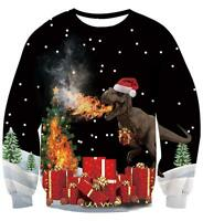 f7d031b700b0b AIDEAONE Unisex Ugly Christmas Sweatshirts 3D Printed Pullover Long SIZE M