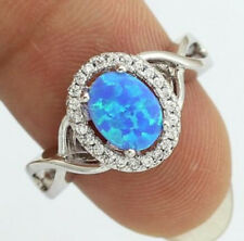 925 Silver Sterling Blue Fire Opal & White Topaz Ring Jewelry Wedding Party