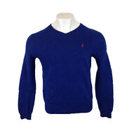 Polo Ralph Lauren Jumper Blue V Neck Sweatshirt Lambs Wool Medium Mens