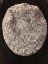 Vintage Kangol Harris Tweed Gray Wool Hat Newsboy Cabbie Cap Youth Kids Size