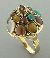 ANTIQUE VINTAGE 14K YELLOW GOLD MULTI STONE RING GARNET JADE EMERALD TOPAZ