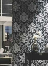 P&S Carat Luxury Silver Black Grey Glitter Damask Textured Wallpaper 13343-40