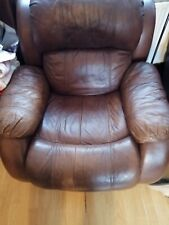 Leather Brown Sofa And Arm Chair