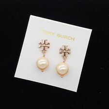 Tory Burch Logo Rose Gold Crystal Pearl Drop Earrings w/ Card