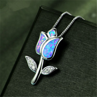 NEW Women's 925 Silver Blue Fire Opal Rose Flower Pendant Chain Necklace Jewelry