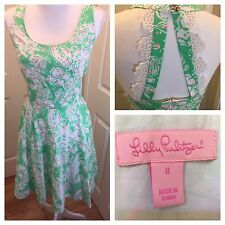 LILLY PULITZER DRESS LIME GREEN  & PINK FLORAL DESIGN FULLY LINED SLEEVELESS 8