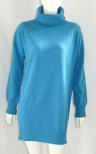 MAGLIONE MAXI donna maglione lungo pura lana collo alto manica lunga TG M