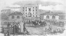 LONDON. The Islington New Market, antique print, 1849
