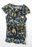 Ted Baker Humming Bird Blouse Top Blouse Black Short Sleeve Sz 2 (10)
