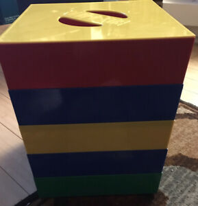"""13"""" Box-4-Blocks Lego & Brick Blocks Sorting Cube W/5 Sorting Trays & Lid! GC!"""