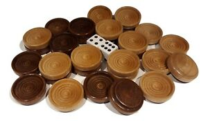 """30 Backgammon Pieces Wooden Checkers Wood Brown Natural 1.25"""" + 2 Dice"""