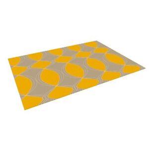 "Kess InHouse ""Geometries in Yellow"" Gym Exercise Outdoor Floor Mat Rug 5' x 7'"