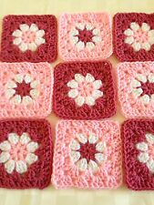 "20 4 1/2"" ROSE PINK Hand Crochet DAISY FLOWER GRANNY SQUARES Afghan Throw Blocks"