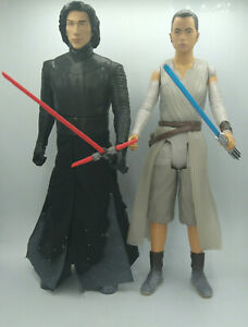 "Star Wars Kylo Ren & Rey Starkiller Base Showdown Figures 18"" Used Free Ship"