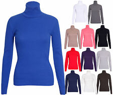 Womens Ribbed Polo Turtle Neck Ladies Stretch Long Sleeve T-Shirt Top Plus Size