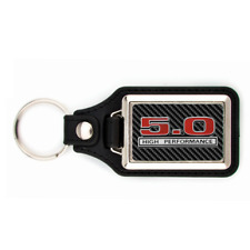 FORD MUSTANG 5.0 KEYCHAIN WITH CARBON FIBER LOOK BACKGROUND KEY CHAIN
