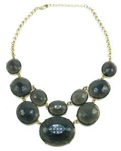 Vintage Gold Tone & Smoky Gray Glass Bead Cascading V-Shaped Necklace Runway