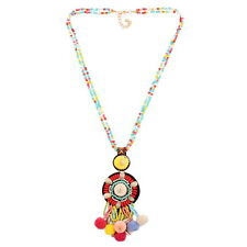 Colorful Ball Bead Long Chain Necklace For Women Shell Pendant Tassel Statement