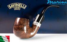 Pipa Pipe pfeife Savinelli Trevi 614 curva scura lucida vera argento made italy