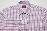 UNTUCKit Mens Button Down Shirt Size Medium Slim Fit Pink Blue White Checks EUC