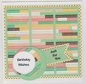 Blank Handmade Greeting Card ~ BIRTHDAY WISHES JUST FOR YOU with QUOTATIONS