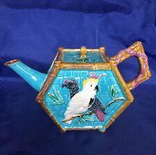 Antique Majolica FIELDING Parrot & Cockatoo Tea Pot c.1880