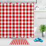 Vintage Country Red and White Buffalo Check Plaid Shower Curtain Fabric Bath Mat