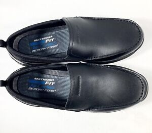 SKECHERS MENS BLACK LEATHER LOAFERS MOCCASINS SLIP ON CASUAL SHOES SIZE UK 12