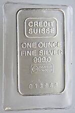 SEALED 1 OZ CREDIT SUISSE SILVER BAR .999 PURE Vintage Older Mint from 1981