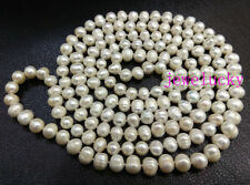Genuine white Oval pearl 10mm freshwater beads necklace 60 inches long no metal