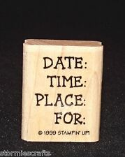 Date Time Place For Rubber Stamp Single Party Invite Stampin Up Baby Boutique