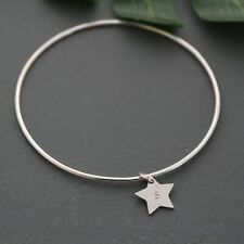 HANDMADE STERLING SILVER  BANGLE WITH PERSONALISED INITIAL STAR CHARM 925