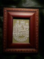Brugge Bruges Belgium, Framed Crochet  Belfry of Bruges.  Rare Woods frame.