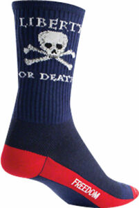 SockGuy Crew Liberty or Death Socks 6 inch Blue Large X-Large Unisex Sythetic
