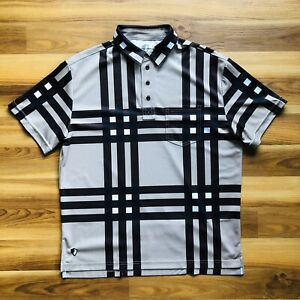 Danny Shane Mens Bamboo Polyester Brown Plaid S/S Cycling Jersey Polo Size XL