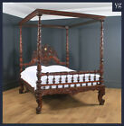 """Antique 5ft 7"""" Victorian Anglo-Indian Colonial Raj King Size Four Poster Bed"""