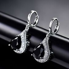Engagement White Gold Filled Pear Black Swarovski Crystal Long Dangle Earrings