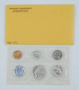 1962 United States Mint Silver Proof Set 5 Coins in Cellophane w/ Gov. Package