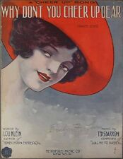 1915 WHY DON'T YOU CHEER UP DEAR Klein & Barron PRETTY GIRL RED HAT COVER ART