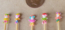 1:12 Scale 5 Hand Made Polymer Clowns On A Stick Tumdee Dolls House Nursery Toy
