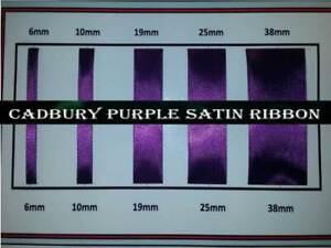 Quality Cadbury Purple Satin Ribbon 6, 10, 19 ,25, 38mm Width, Various Lengths