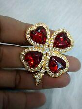 Pretty Vtg  KJL Kenneth Jay Lane heart flower rhinestone gold  tone pin brooch